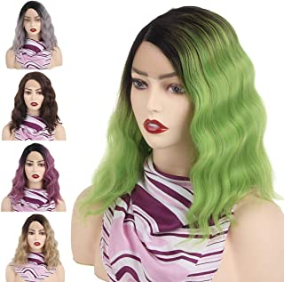 Leeven 14 Inch Lace Wig with Side Parting Short Bob Wavy Ombre Green Wigs for Women Heat Resistant Synthetic Full Wig for ...