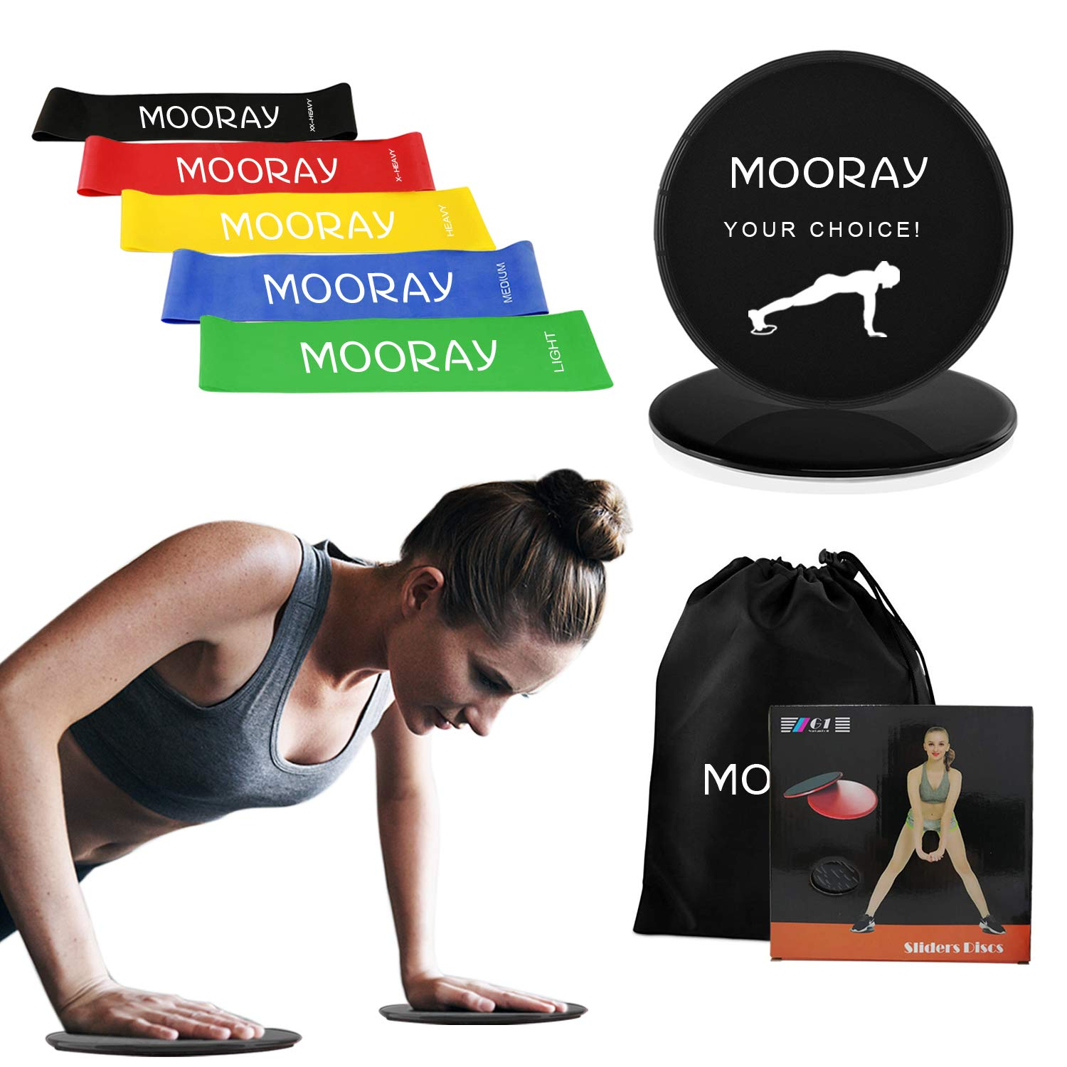 Pilates and More Stretching 12-inch Inspirational Premium Workout Bands for Weight Training Set of 5 Home Fitness Physical Therapy Yoga Sweatz Resistance Loop Exercise Bands with Carry Bag