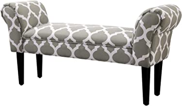 HOMCOM Small Linen Upholstered Ottoman Bench Rolled Arm End Chair, Wood Legs- Grey Lattice
