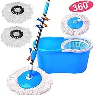 PrimeTrendz Microfiber Spining Magic Spin Mop W/Bucket 2 Heads Rotating 360° Easy Floor Mop Washable Plastic Handle Great Wet Or Dry Machine Washable (Blue)