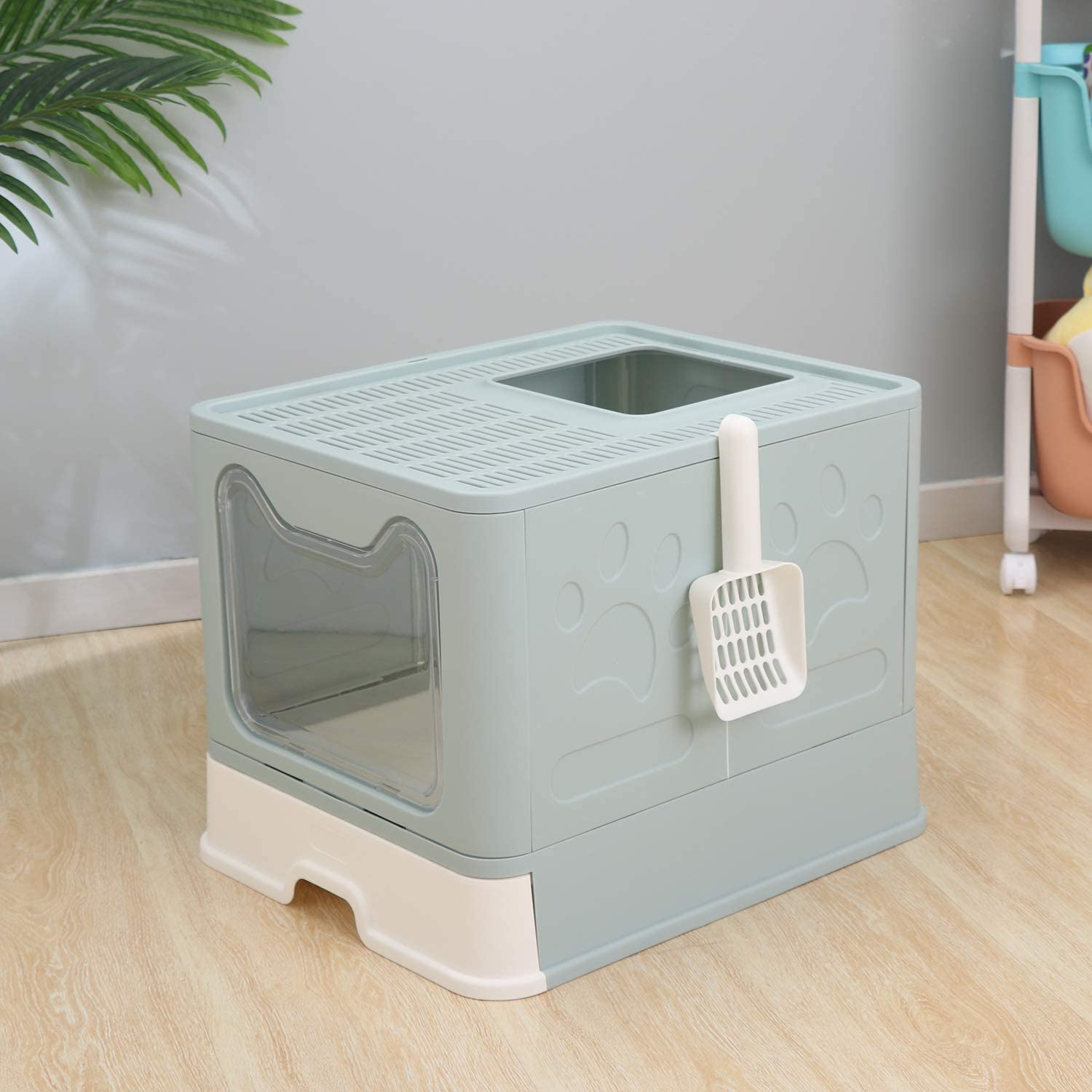 Cat Potty GENENIC Large Foldable Cat Litter Box Pan with Lid Blue Top Entry Type Anti-Splashing Cat Supplies with Pet Plastic Scoop