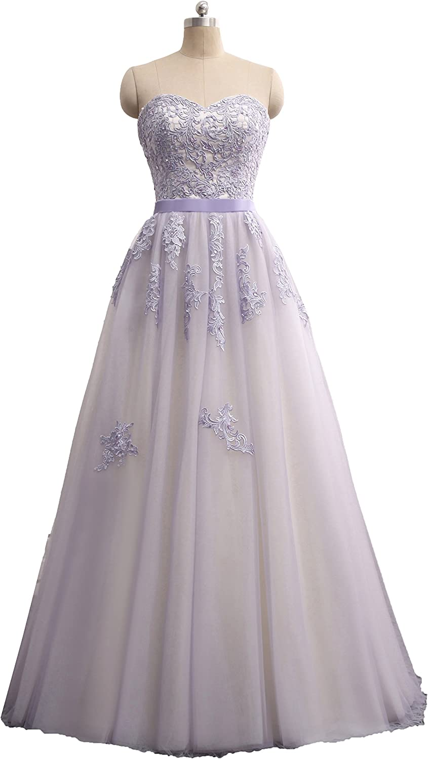 Onlybridal Women's Appliques Long Tulle Bridal Dresses Beaded Evening Gowns