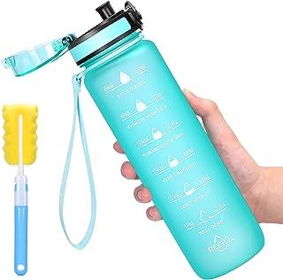 Favofit 1 Liter Trinkflasche mit Motivationszeitmarkierung, BPA-frei Tritan Wasserflasche mit Fruchtfilter und Reinigungsb...