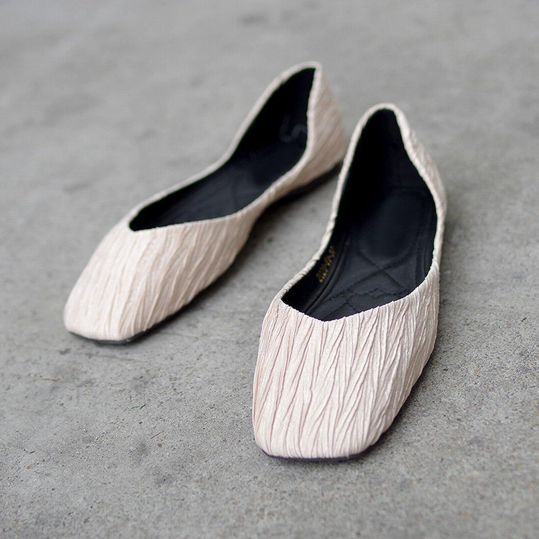 DHG Lässige Schuhe Flacher Flacher Flacher Fauler Schuhe des Flachen Mundquadrats Weichen Unteren Balletts,Aprikose,39  9bfaeb