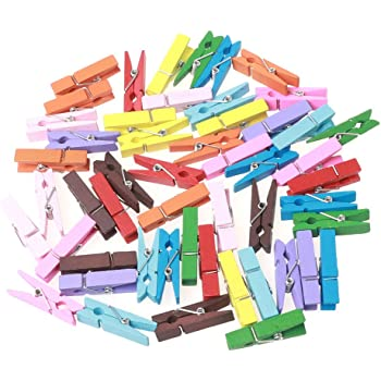 50Piece DIY Mini Colored Craft Clips Clothes Photo Paper Peg Pin Clothespin Pegs for Hanging Photos DIY Craft Decoration luosh Wooden Photo Clips