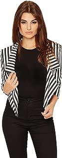 Women's Striped Crop Short Blazer - Black White - US 4-6 (UK 8-10)