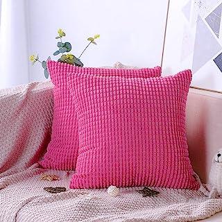 Artscope 2er-Set Dekorativ Kissenbezüge 45 x 45 cm Weicher Kordsamt Kissenbezug Reine Farbe Großer Mais Kissenhülle Set Kissen Fall für Sofa Auto Schlafzimmer Zuhause Zierkissenbezüge (Pink)