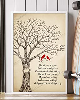Mattata Decor Gift - You Shook Me All Night Long Song Lyrics Portrait Poster Print (16