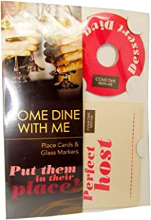 MA ONLINE Come Dine With Me Place Cards and Glass Marker Unisex Hen Night Party Decoration Pack Of 8