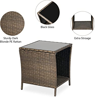 Kinbor Patio Side Table Wicker PE Rattan Outdoor Square Coffee Table Outdoor Bistro Table for Garden Lawn Deck Porch Pool
