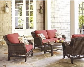 Hampton Bay Woodbury 4-Piece Wicker Outdoor Patio Seating Set with Chili Cushion