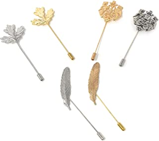 Rusoji Pack of 6 Men's Metal Vintage Style Fashion Brooch Stick Lapel Pin for Suit, Tie, Assorted Colors
