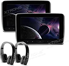 XTRONS 2X 10.1 Inch Twins HD Digital Screen Car Auto Stereo Headrest DVD Player Black New Version Headphones Included