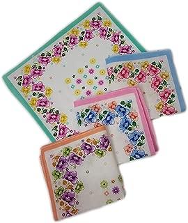GRAPPLE DEALS Women's Girls Handkerchiefs Vintage Floral Print Blossom Flower Cotton Hankey. 25Cm*25 cm (Multicolor)