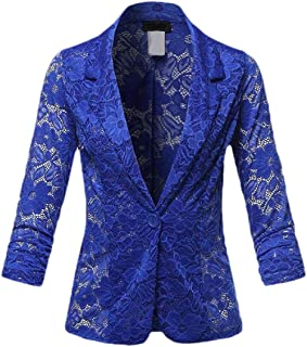 Macondoo Womens Casual Lace Coat One Button Notch Lapel Blazer Jackets