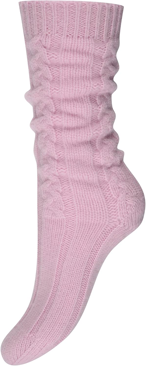 Pure Cashmere Cable Knit Socks for Women Made in Scotland (Soft Pink)
