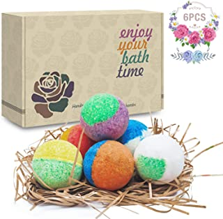 6 Organic & Natural Bath Bombs, Handmade Bubble Bath Bomb Gift Set, Rich in Essential Oil, Shea Butter, Coconut Oil, Grape Seed Oil, Fizzy Spa to Moisturize Dry Skin, Perfect Gift idea For Women.
