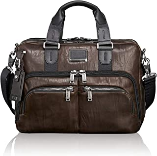 TUMI Alpha Bravo Albany Slim Commuter Brief Briefcase, Dark Brown, 14 Inch Computer Bag for Men and Women