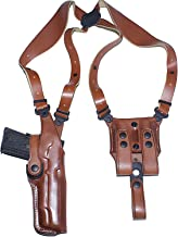 Premium Leather Vertical Leather Shoulder Holster System with Double Magazine Carrier Fits, Colt 1911 5