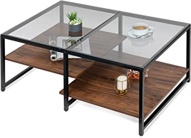 HOMOOI Glass Coffee Table, Multi-Level Platform with Two Heights Open Storage Shelves Center Tables for Living Room