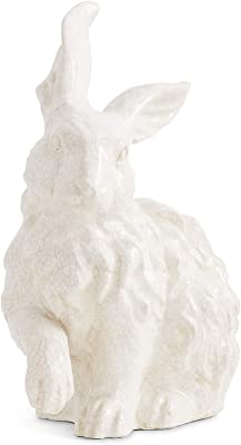 K&K Interiors 15269A-2 13 Inch White Glazed Terracotta Bunny with Paw
