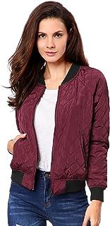 Allegra K Women's Raglan Sleeves Quilted Zip up Bomber Jacket