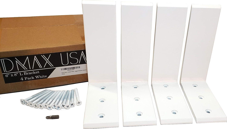 Heavy Duty L Bracket White Steel 6 x 8 Countertop Support Brackets Packs 4