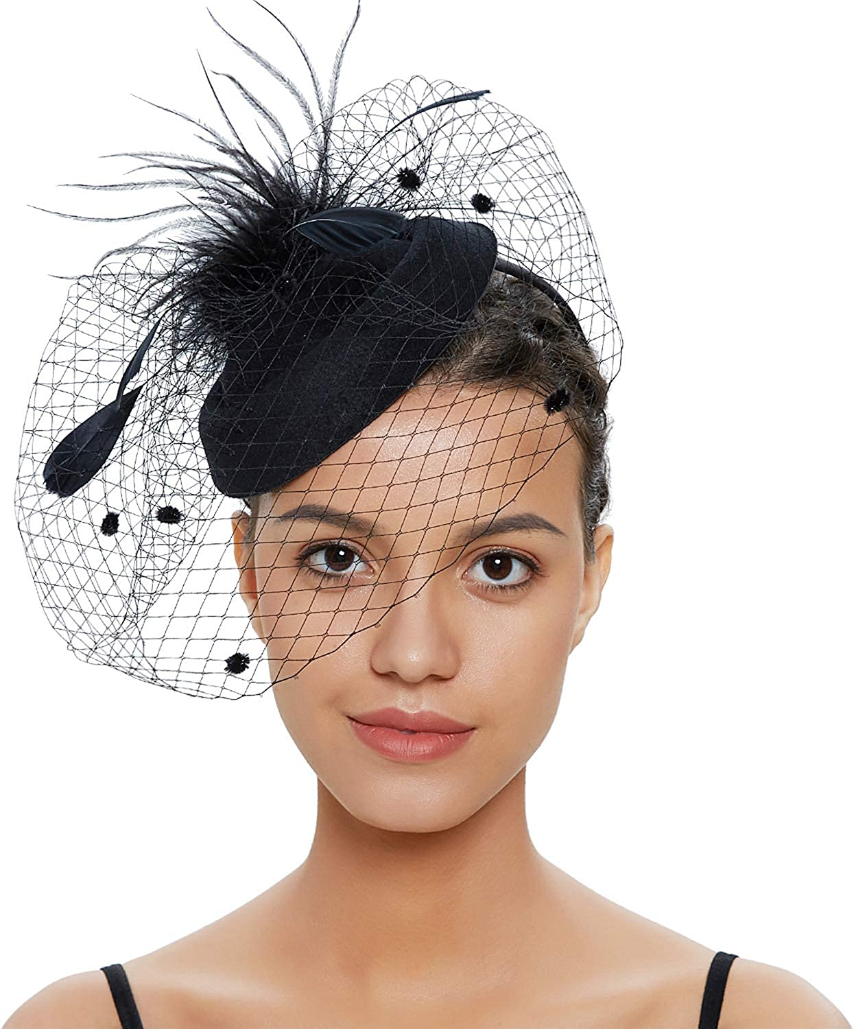 Gionforsy Pillbox Fascinator Veil Feather Derby Hat Lace Gloves Pearl Necklace