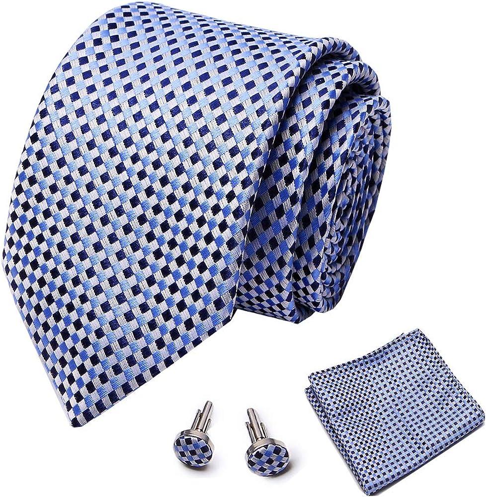 blue tie and pocket square set cufflinks red necktie fit wedding business