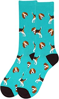 Men's Beagle Socks, Novelty Beagle Dog Socks for Men, Beagle Lover's Gift for Men, Teal Casual Crew Socks Men