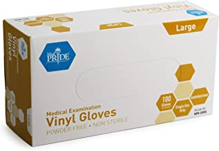 Medpride Medical Vinyl Examination Gloves (Large, 100-Count) Latex Free Rubber | Disposable, Ultra-Strong, Clear | Fluid, Blood, Exam, Healthcare, Food Handling Use | No Powder