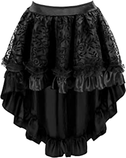 Women's Lace Steampunk Gothic Vintage Satin High Low Midi Skirt with Zipper