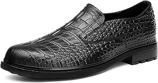 ZH~K QLANG Slip-Ons pour Hommes Rond Toile Crocodile Dragon Embossé High Block High Block Semelle Semelle Solle Couleur So...
