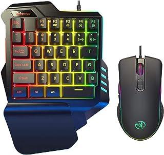 ゲーミング キーボード マウス セット 日本語説明書付き RGB 片手ゲーミングキーボード メカニカル感触 ゲーミングマウス 最大6400DPI 光学式 USB有線 Fotomus
