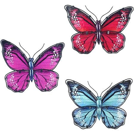 CAPRILO. Set de 3 Apliques Pared Decorativos de Metal Mariposas Azul-Roja-Rosa. Cuadros y Adornos. Decoración Hogar. Insectos. Regalos Originales. 16,50 x 24 x 1,50 cm.