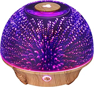 VicTsing Essential Oil Diffuser, 200ml 3D Effect Ultrasonic Aromatherapy Oil Humidifier with Starburst Fireworks Effect, 7-Color LED Lights, Waterless Auto-Off, Great for Home, Office, Bedroom-Brown