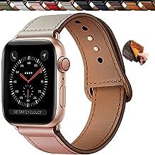 Qeei Lederen Bandje Compatible Met Apple Watch 44mm 42mm 40mm 38mm,Innovatief Verborgen Gespen Echt Lederen Horlogebanden ...