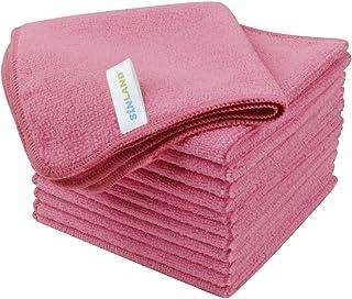 SINLAND マイクロファイバー クリーニングクロス 業務用タオル キッチン 掃除 洗車 吸水 速乾 クロス 12枚入 ピンク