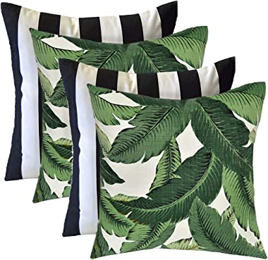 RSH Décor Indoor Outdoor Mixed Set of 4 Decorative Square Throw Pillows Made with Tommy Bahama Swaying Palm and Black & W