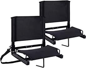 Ohuhu Stadium Seats Bleacher Seat Chairs with Backs and Cushion, Folding & Portable, Bonus Shoulder Straps, 2 Pack