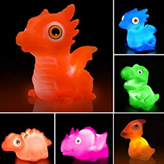 Dinosaur Bath Toys With Popping Eyes(Battery Replaceable),6 Packs Light Up Floating Rubber Toys for Baby Children Toddlers,Pool Water Bathtub Shower Toys for Kids Preschool in Christmas Birthday