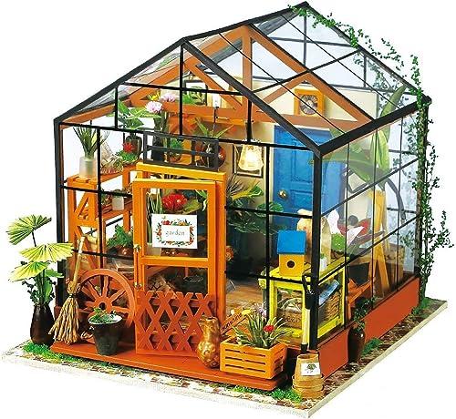 Imaginez 3D DIY maison modèle kit serre avec LED Kit de lumière-Dollhouse miniature construisez-vous kit pour les amateurs et les passionnés de cadeaux en bois pour les adultes enfants adolescents