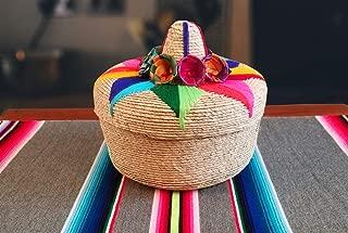 Genuine Mexican Handwoven Tortillero, Fiesta Mexican Tortilla Warmer, Tortilla Holder, Tortilla Keeper,Tortilleros Mexicanos Para Fiesta – Includes smaller size inside! (Floral, 2)