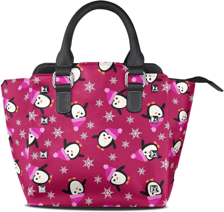Women's Top Handle Satchel Handbag Christmas Little Penguins Ladies PU Leather Shoulder Bag Crossbody Bag
