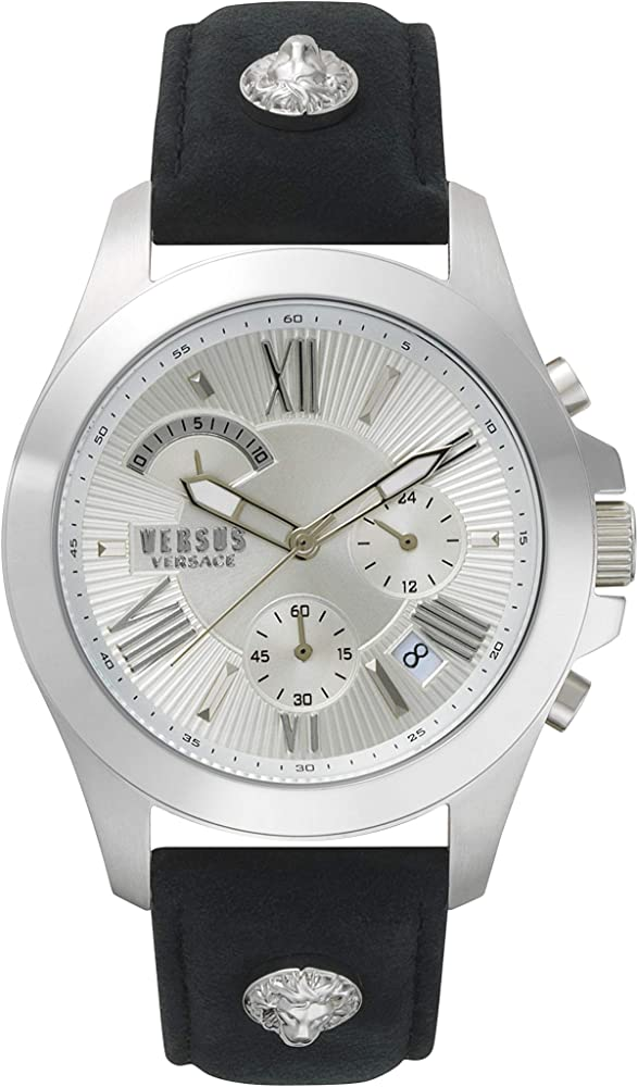 Versus versace watch,orologio,cronografo per uomo,cassa in acciaio inossidabile,cinturino di vera pelle VSPBH1018