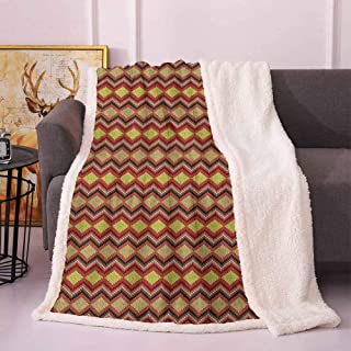 Tan and Brown Throw Blanket Knitting Themed Graphic Pattern with Zigzag Ornamental Chains and Warm Hues Fleece Throw Blanket Multicolor 60