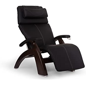 "Perfect Chair ""PC-420"" Better-Than-Leather SofHyde Hand-Crafted Zero-Gravity Dark Walnut Manual Recliner, Black"