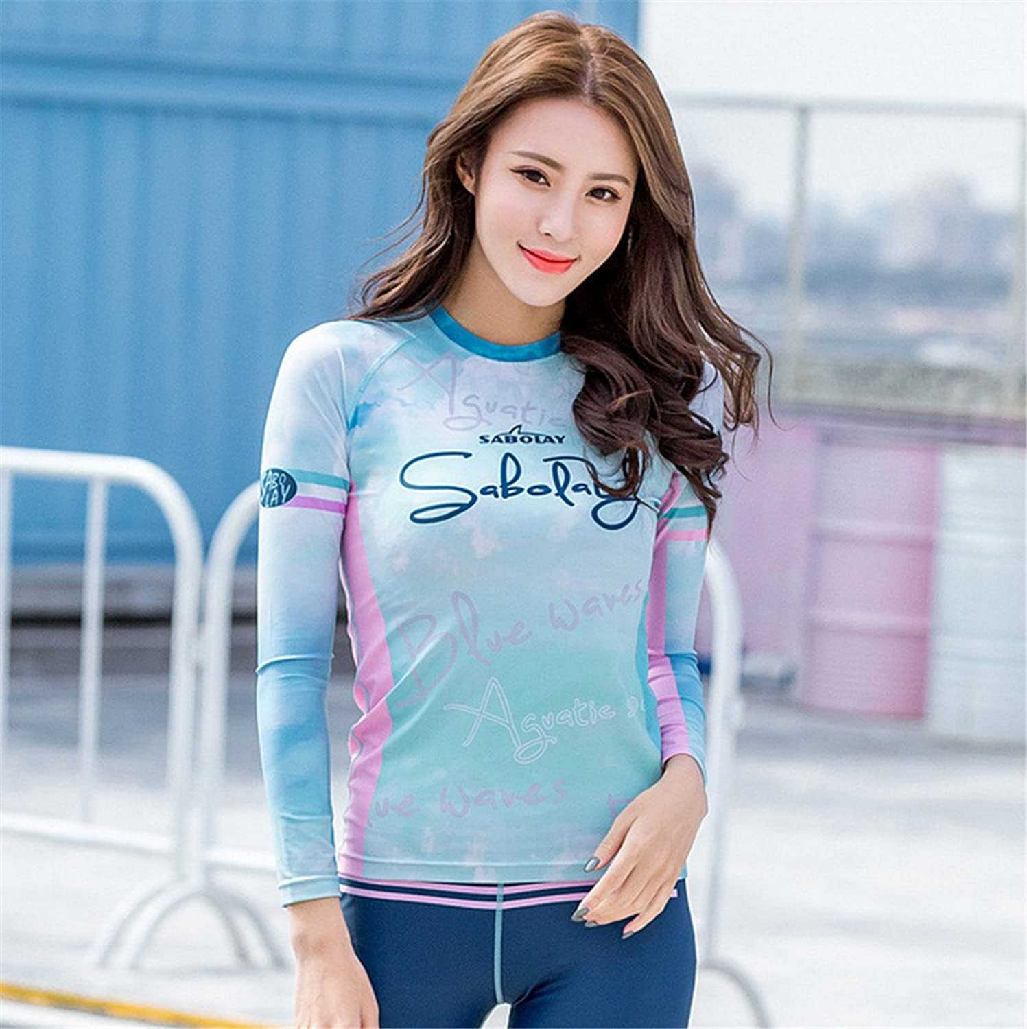 Fresh Style Large Size Swimwear Swimsuit Ladies Split Swimsuit Women Long Sleeve Surf Sun Predection Clothing