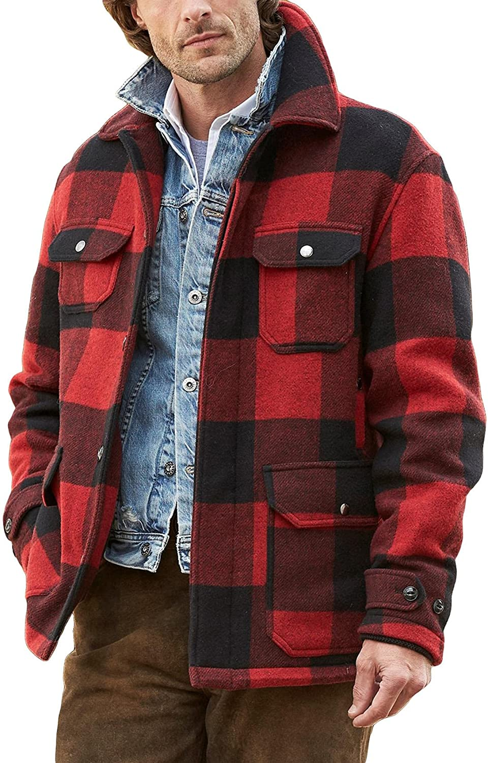 Gafeng Mens Flannel Quilted Shirt Jacket Fleece Buffalo Plaid Thermal Casual Fall Winter Outerwear Coat