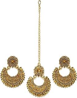 Zaveri Pearls Ethnic Chandbali Earring with Maang Tikka for Women - ZPFK6087
